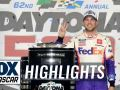 Denny Hamlin wins Daytona 500 amid scary crash on final lap