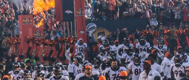 Denver Broncos coming on the field for Super Bowl 50.